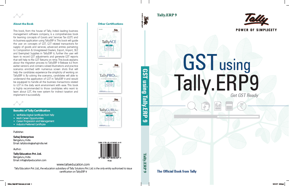 Tally ERP 9 Book with GST| Tally ERP 9 Practical Notes