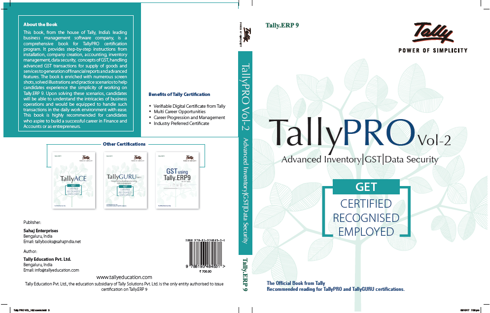 Buy Tally PRO Vol 2 Book Online | Tally Course Book| Tally